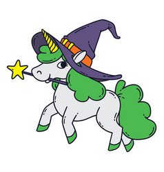 halloween unicorn with magic wand witch hat and vector image