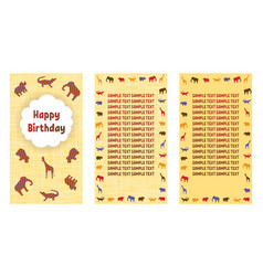 Happy birthday greeting cards three different vector