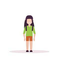 happy brunette girl standing pose little child vector image
