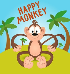 Happy funny cartoon monkey in vector image