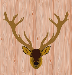 Head of reindeer on realistic wooden background vector