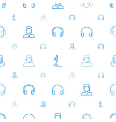 Headset icons pattern seamless white background vector