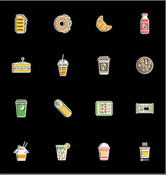 Healthy fast food white colorful icons vector