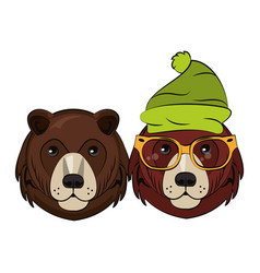 hipster bears cool sketch vector image