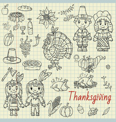 In childrens drawing style thanksgiving day vector
