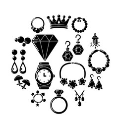 jewelry shop icons set simple style vector image