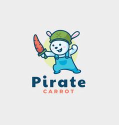 Logo pirate bear mascot cartoon style vector