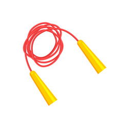 long red jump rope with bright yellow handles vector image