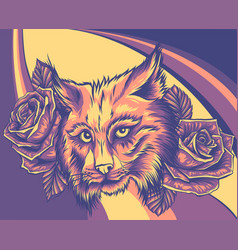 lynx face with roses vector image