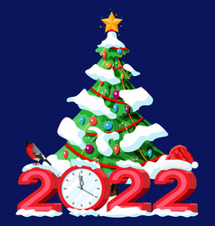 merry christmas and new year greeting xmas card vector image
