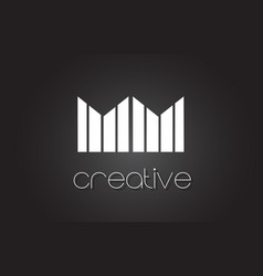 Mm m m letter logo design with white and black vector