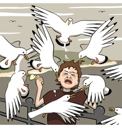 Mugged by birds vector image vector image