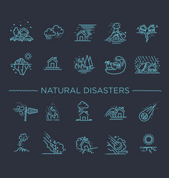 natural disaster of thin line vector image