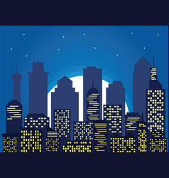 night silhouette of the city and full moon with vector image