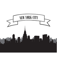nyc cityscape city skyline silhouette travel usa vector image