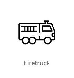 Outline firetruck icon isolated black simple line vector