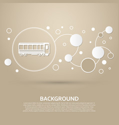 passenger wagons train icon on a brown background vector image