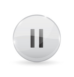 pause button glass shiny 3d icon vector image