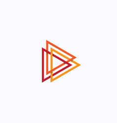 play icon abstract triangle button orange linear vector image