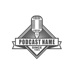 podcast logo design vector image
