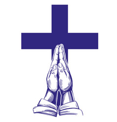 praying hands cross symbol of christianity hand vector image