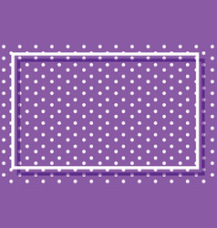 Purple polkadots background with frame vector