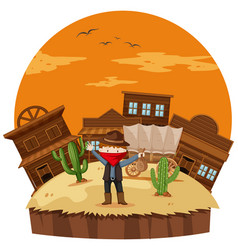 Robber at the cowboy town vector