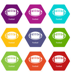 rugby ball icons set 9 vector image