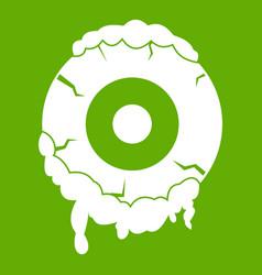 scary eyeball icon green vector image