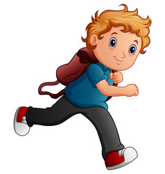 school boy cartoon running vector image