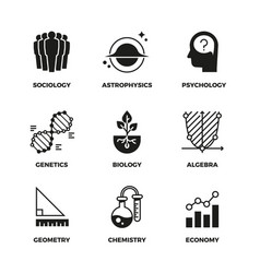Science icons set genetics and economy vector
