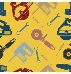 seamless background with hand electric tools vector image