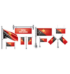 Set national flag papua new vector