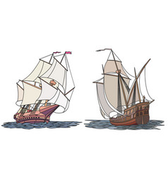 Set of color ship with sails for icons vector