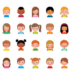 set of different avatars of boys and vector image