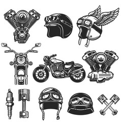 set of motorcycle design elements for logo label vector image