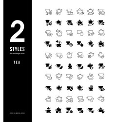 simple line icons tea vector image