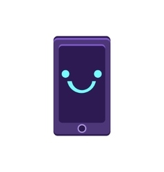 Smartphone primitive icon with smiley face vector
