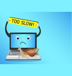 Snail on a slow laptop vector