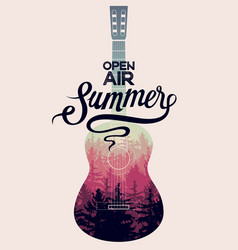 summer music open air festival guitar poster vector image