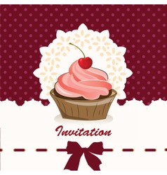 Sweet cupcake invitation background vector image