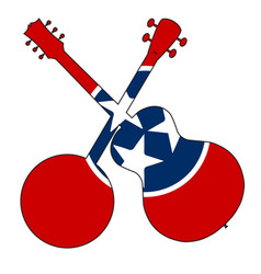 Tennessee flag banjo and guitar silhouette vector