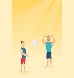 Two caucasian men playing beach volleyball vector