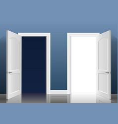Two open doors vector