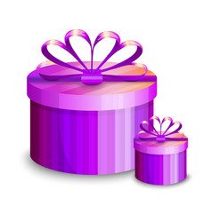 two violet gift boxes presents isolated on white vector image