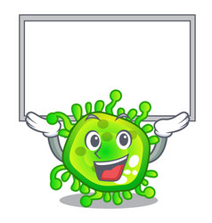 Up board character microbe bacterium on the palm vector