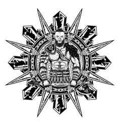 Viking star axe wolf vector