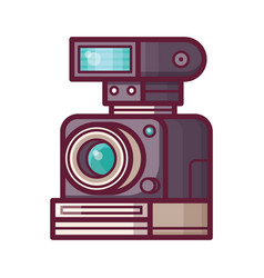 Vintage old camera with flash vector