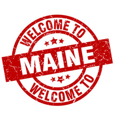 Welcome to maine red stamp vector