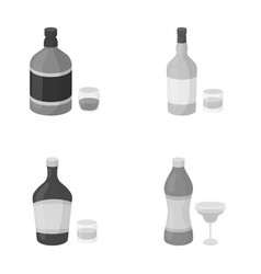 Whiskey liquor rum vermouthalcohol set vector